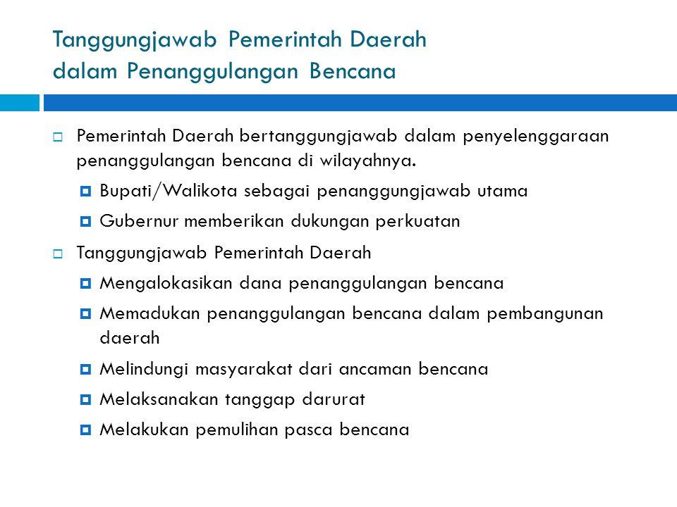 Tanggungjawab Pemerintah Daerah dalam Penanggulangan Bencana