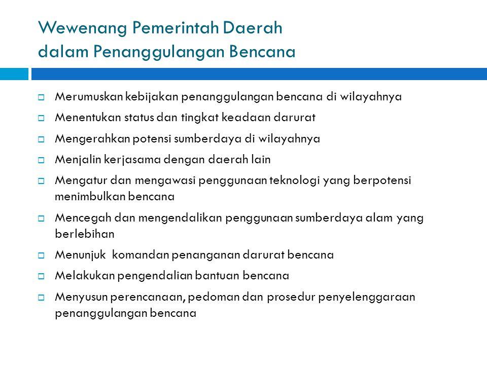 Wewenang Pemerintah Daerah dalam Penanggulangan Bencana