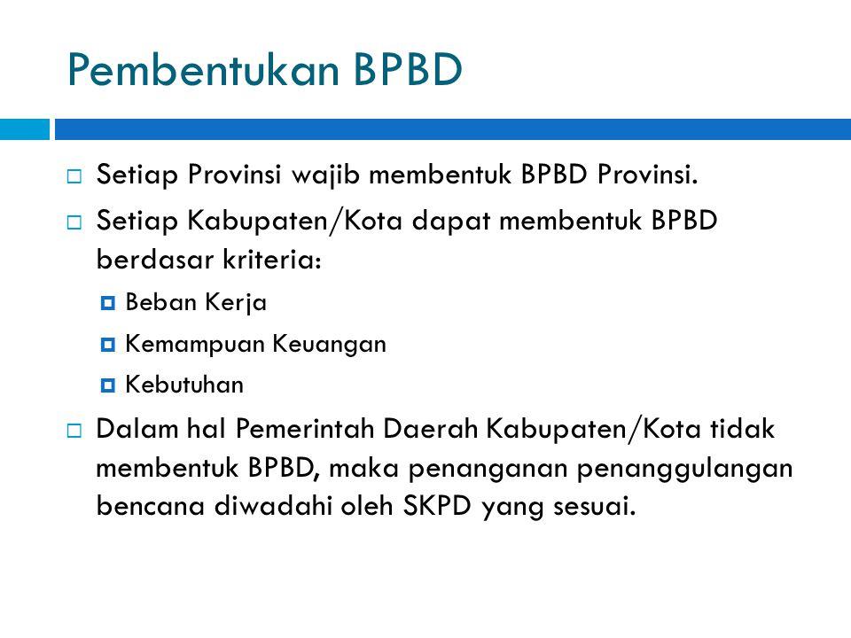 Pembentukan BPBD Setiap Provinsi wajib membentuk BPBD Provinsi.