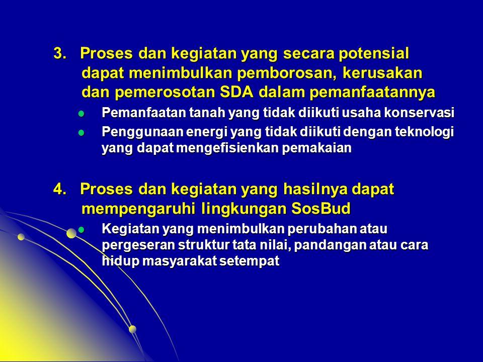 3. Proses dan kegiatan yang secara potensial dapat menimbulkan pemborosan, kerusakan dan pemerosotan SDA dalam pemanfaatannya