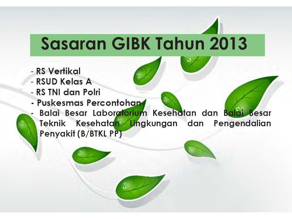 Sasaran GIBK Tahun 2013 RS Vertikal RSUD Kelas A RS TNI dan Polri
