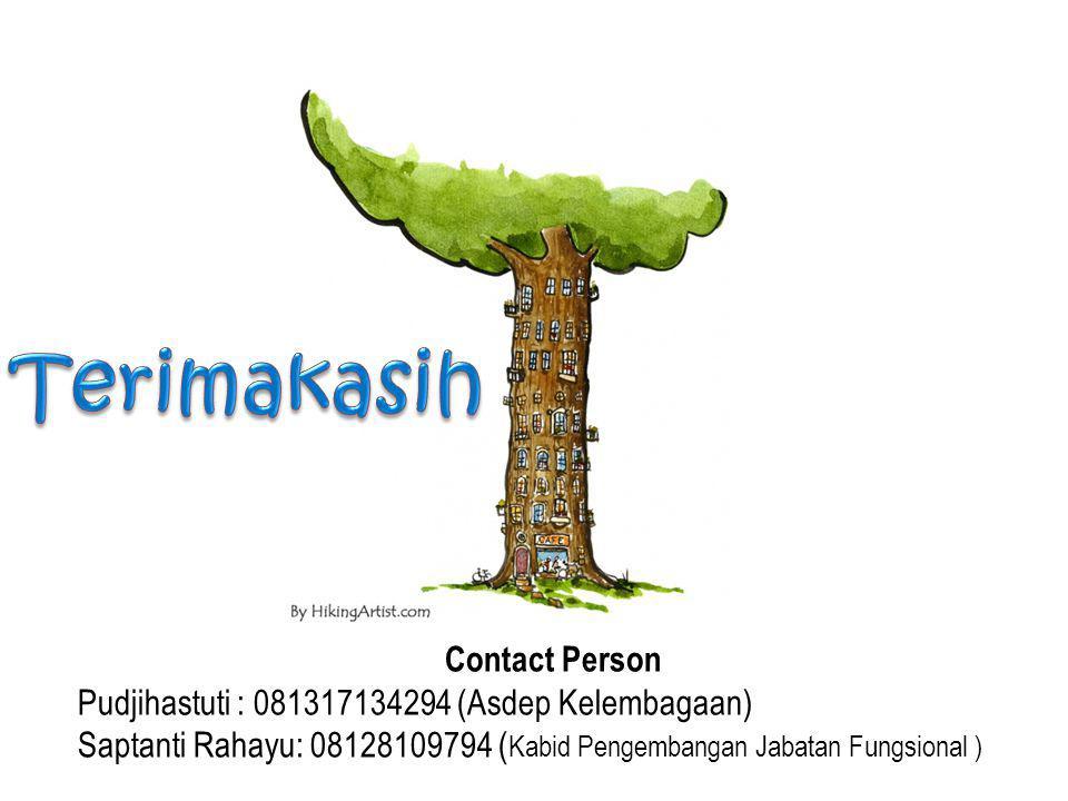 Terimakasih Contact Person Pudjihastuti : 081317134294 (Asdep Kelembagaan) Saptanti Rahayu: 08128109794 (Kabid Pengembangan Jabatan Fungsional )