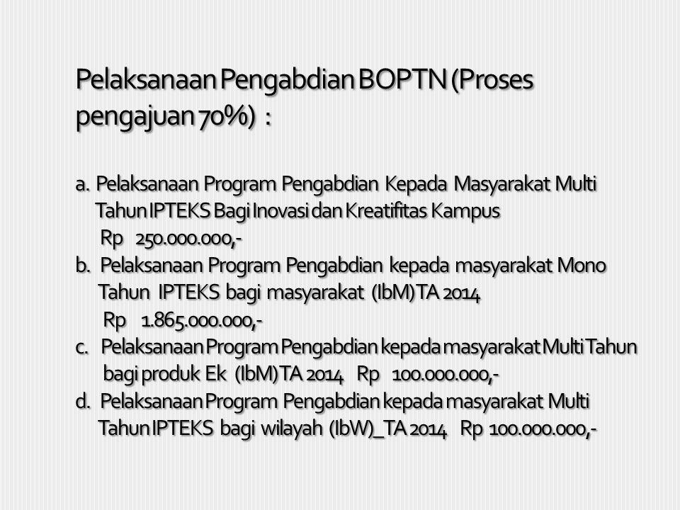 Pelaksanaan Pengabdian BOPTN (Proses pengajuan 70%) : a