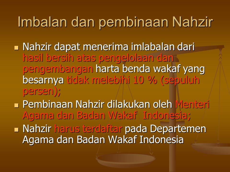 Imbalan dan pembinaan Nahzir