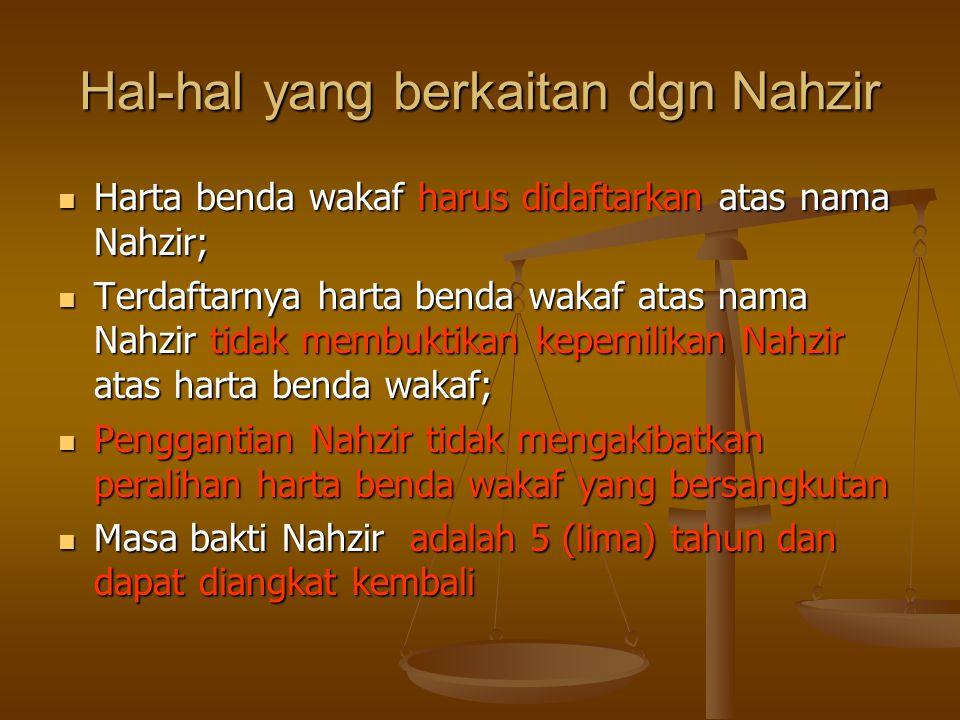 Hal-hal yang berkaitan dgn Nahzir