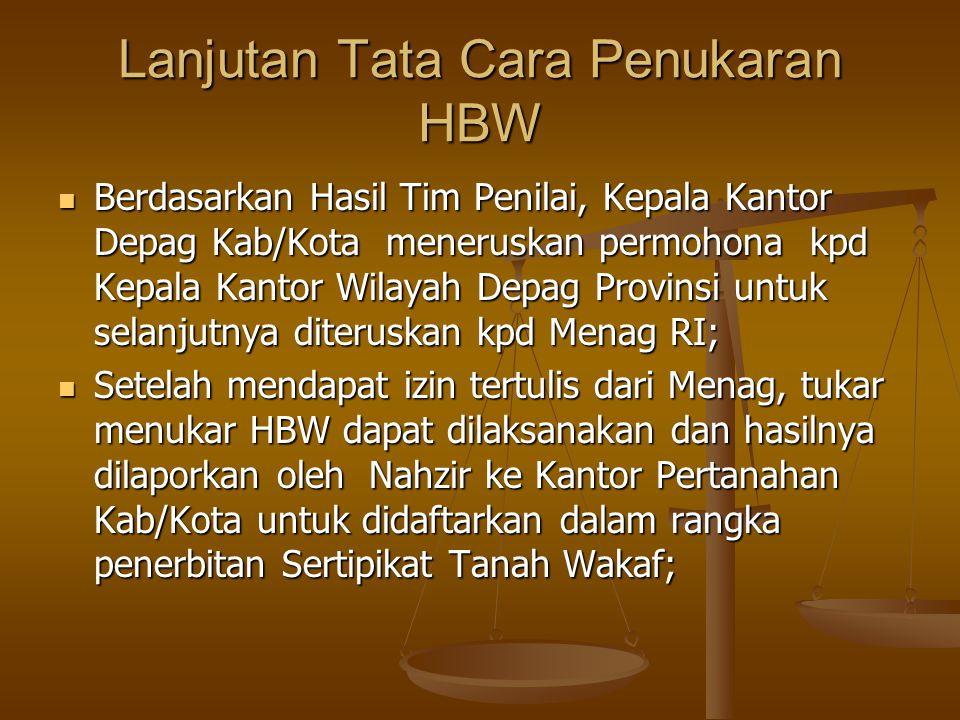 Lanjutan Tata Cara Penukaran HBW