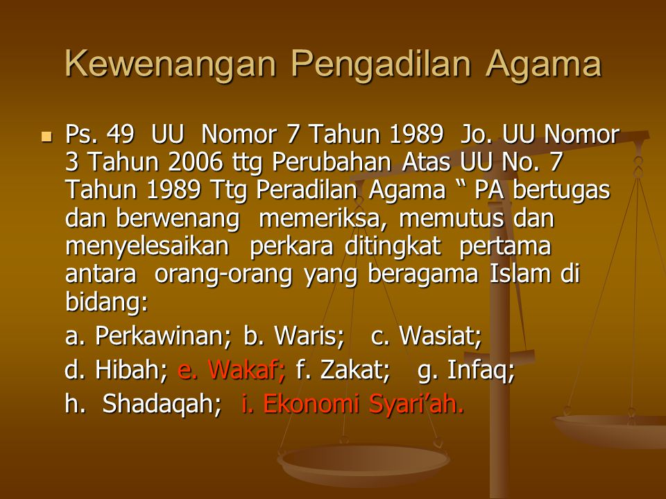 Kewenangan Pengadilan Agama
