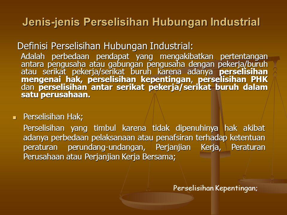 Jenis-jenis Perselisihan Hubungan Industrial