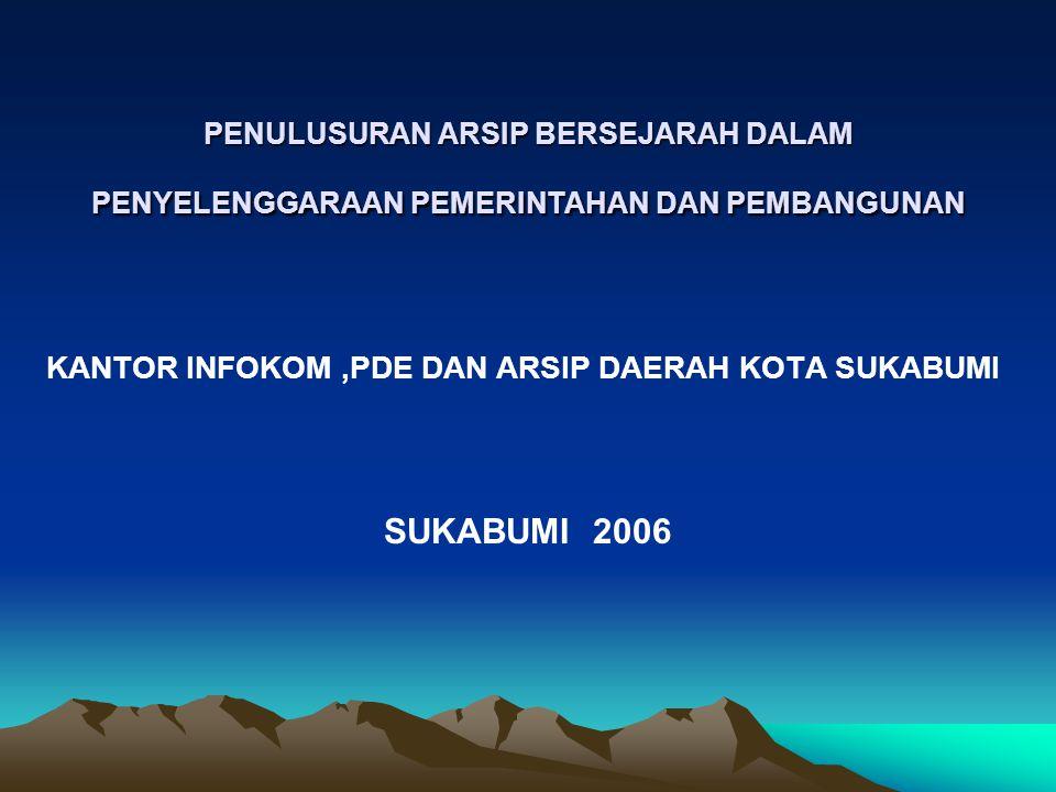 SUKABUMI 2006 KANTOR INFOKOM ,PDE DAN ARSIP DAERAH KOTA SUKABUMI