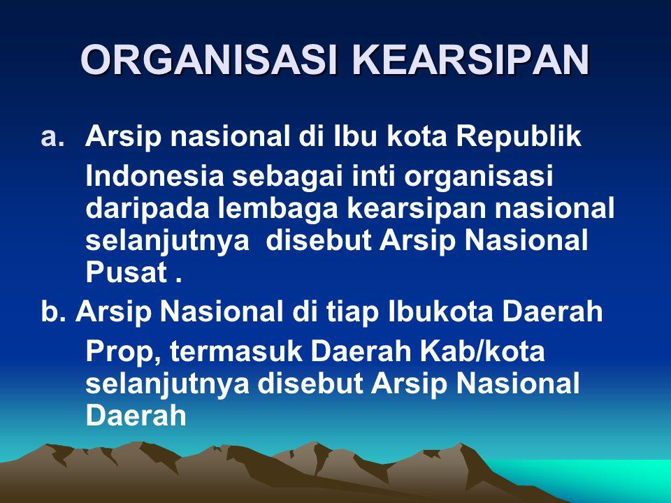 ORGANISASI KEARSIPAN Arsip nasional di Ibu kota Republik