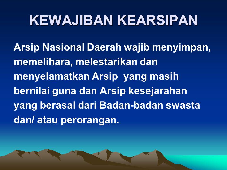KEWAJIBAN KEARSIPAN Arsip Nasional Daerah wajib menyimpan,