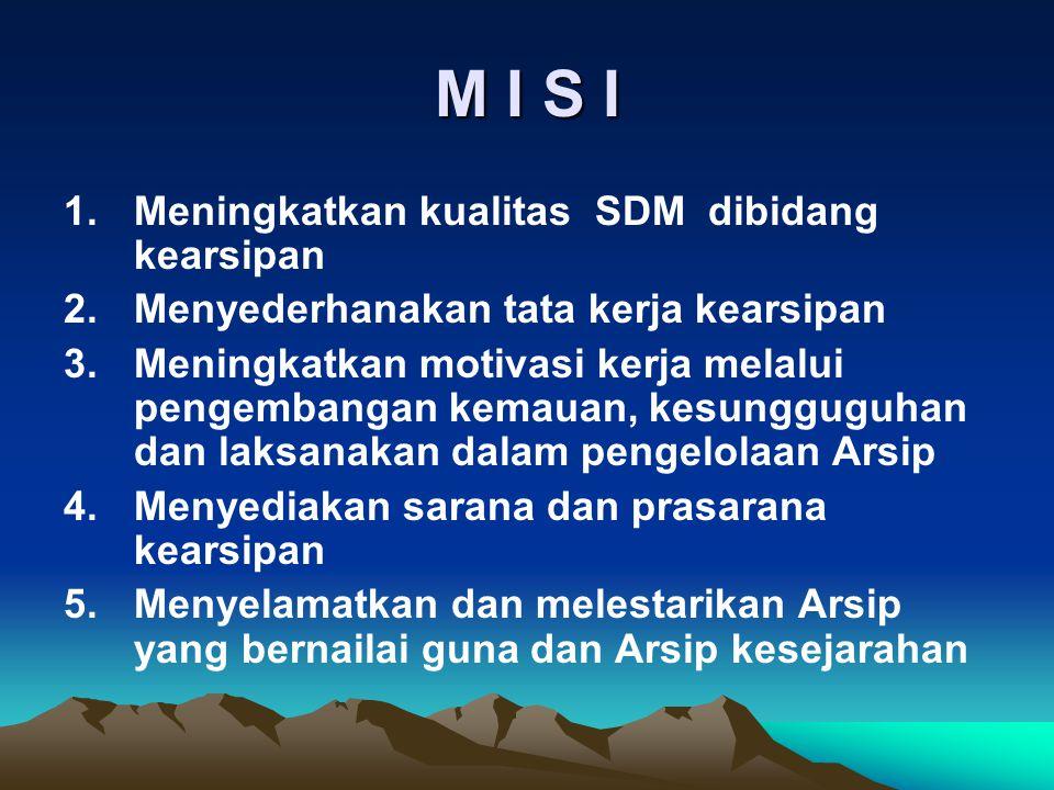 M I S I Meningkatkan kualitas SDM dibidang kearsipan