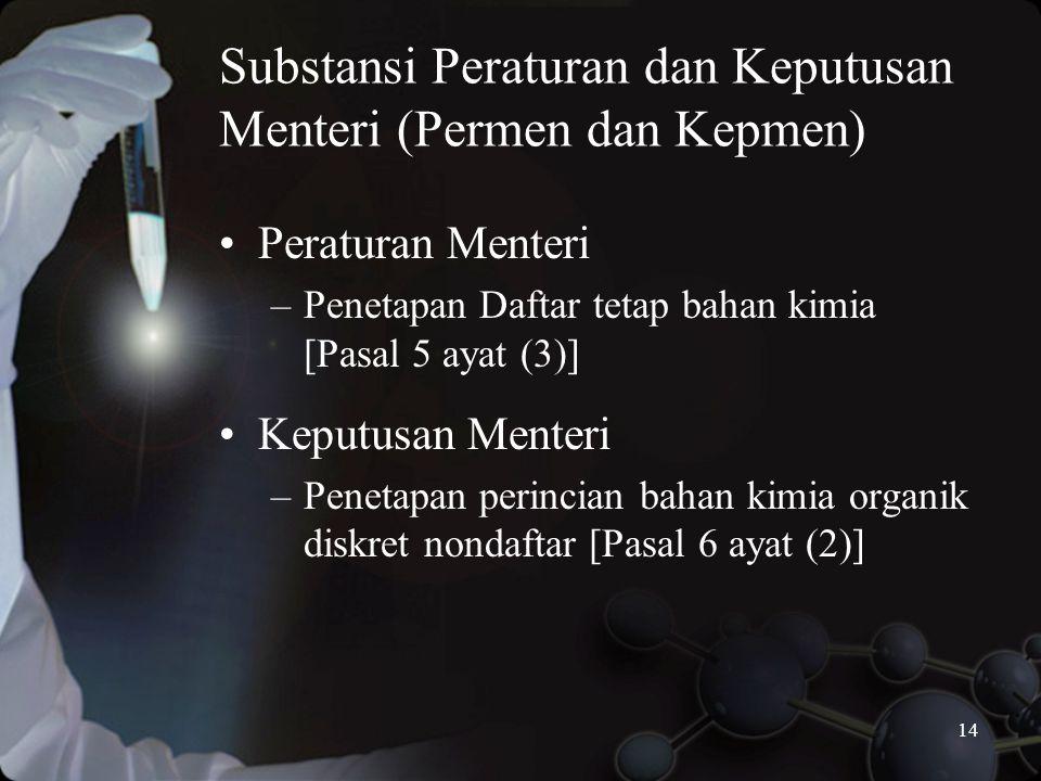 Substansi Peraturan dan Keputusan Menteri (Permen dan Kepmen)