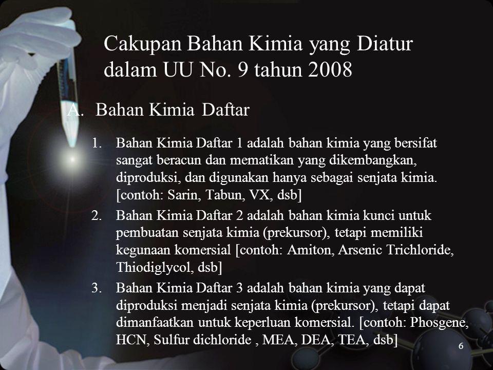 Cakupan Bahan Kimia yang Diatur dalam UU No. 9 tahun 2008