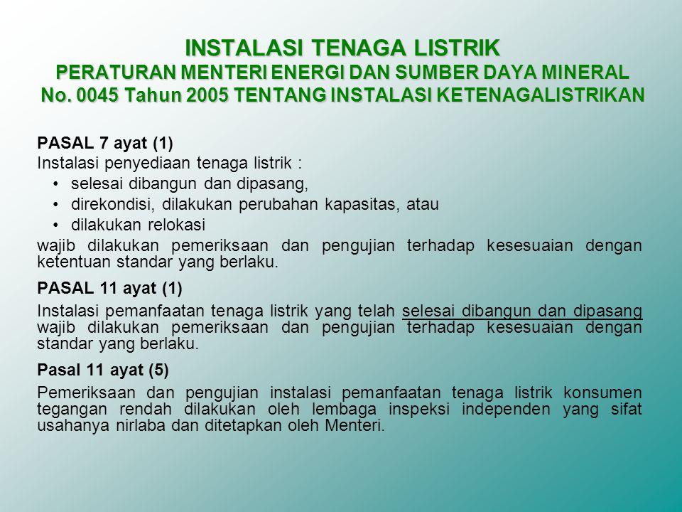 INSTALASI TENAGA LISTRIK PERATURAN MENTERI ENERGI DAN SUMBER DAYA MINERAL No. 0045 Tahun 2005 TENTANG INSTALASI KETENAGALISTRIKAN
