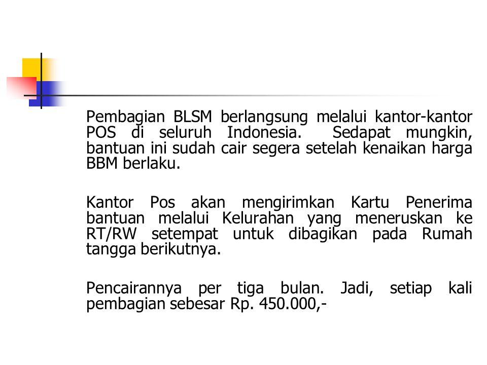 Pembagian BLSM berlangsung melalui kantor-kantor POS di seluruh Indonesia. Sedapat mungkin, bantuan ini sudah cair segera setelah kenaikan harga BBM berlaku.