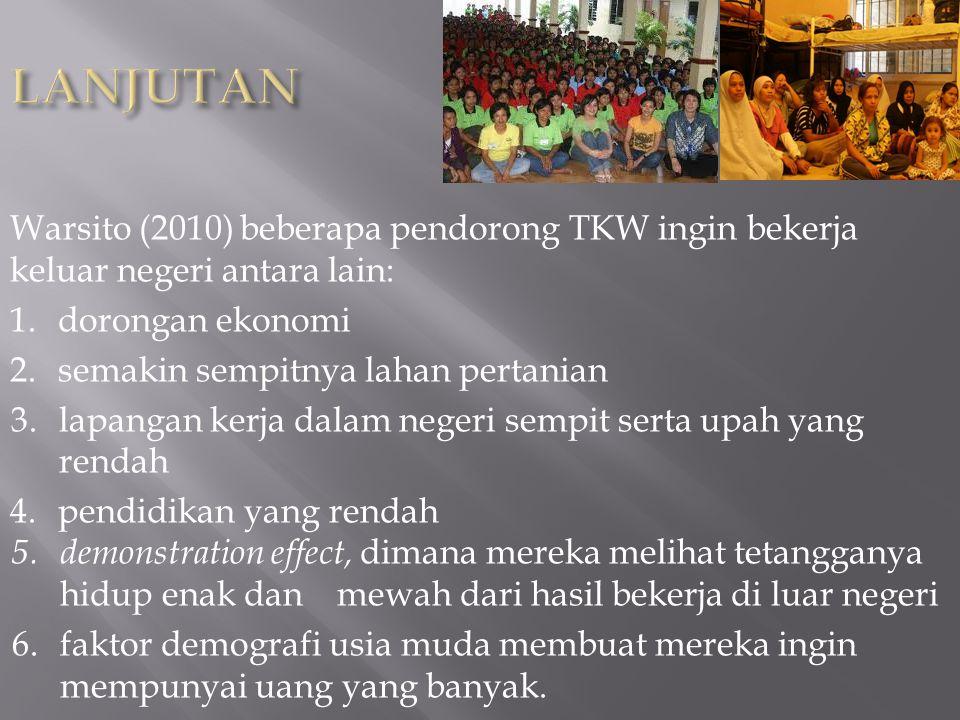 LANJUTAN Warsito (2010) beberapa pendorong TKW ingin bekerja keluar negeri antara lain: dorongan ekonomi.