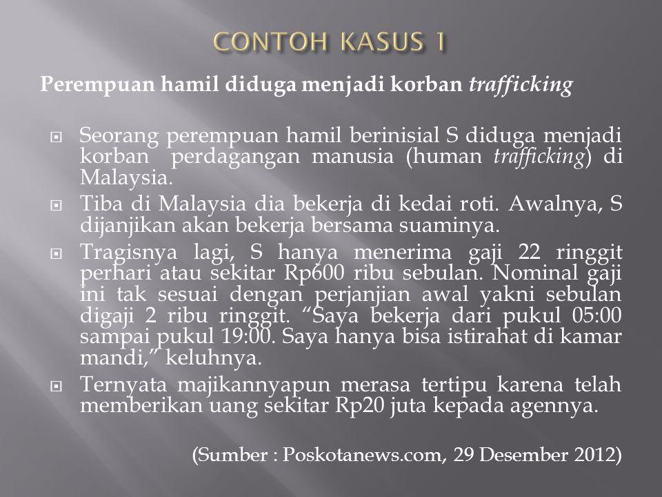 CONTOH KASUS 1 Perempuan hamil diduga menjadi korban trafficking