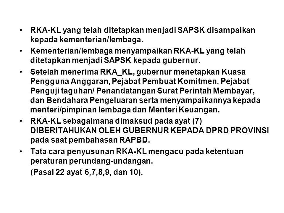 RKA-KL yang telah ditetapkan menjadi SAPSK disampaikan kepada kementerian/lembaga.