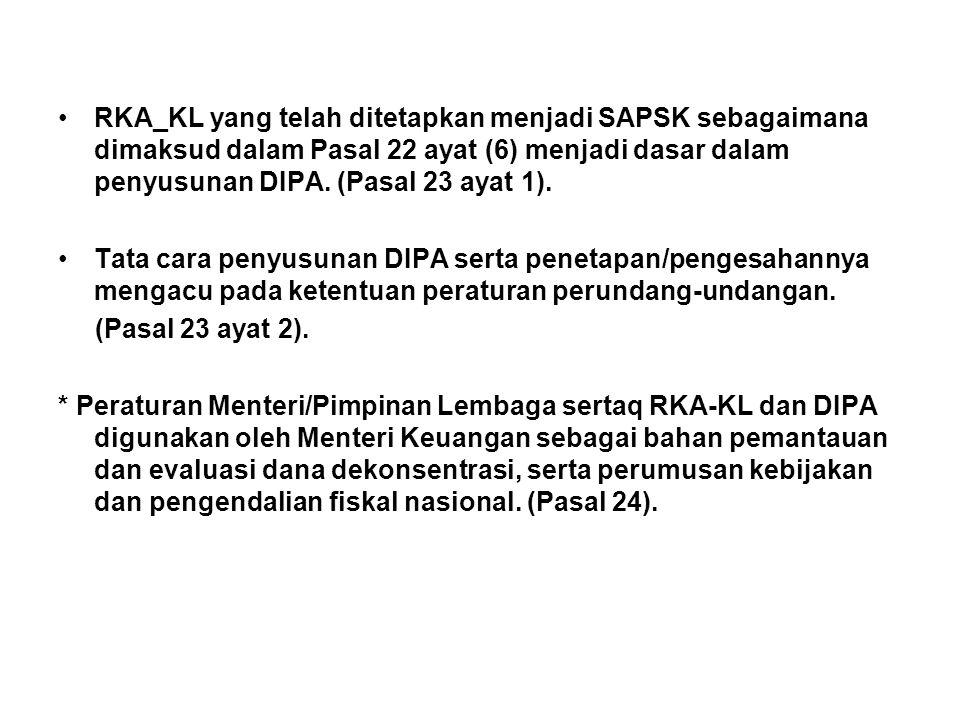 RKA_KL yang telah ditetapkan menjadi SAPSK sebagaimana dimaksud dalam Pasal 22 ayat (6) menjadi dasar dalam penyusunan DIPA. (Pasal 23 ayat 1).