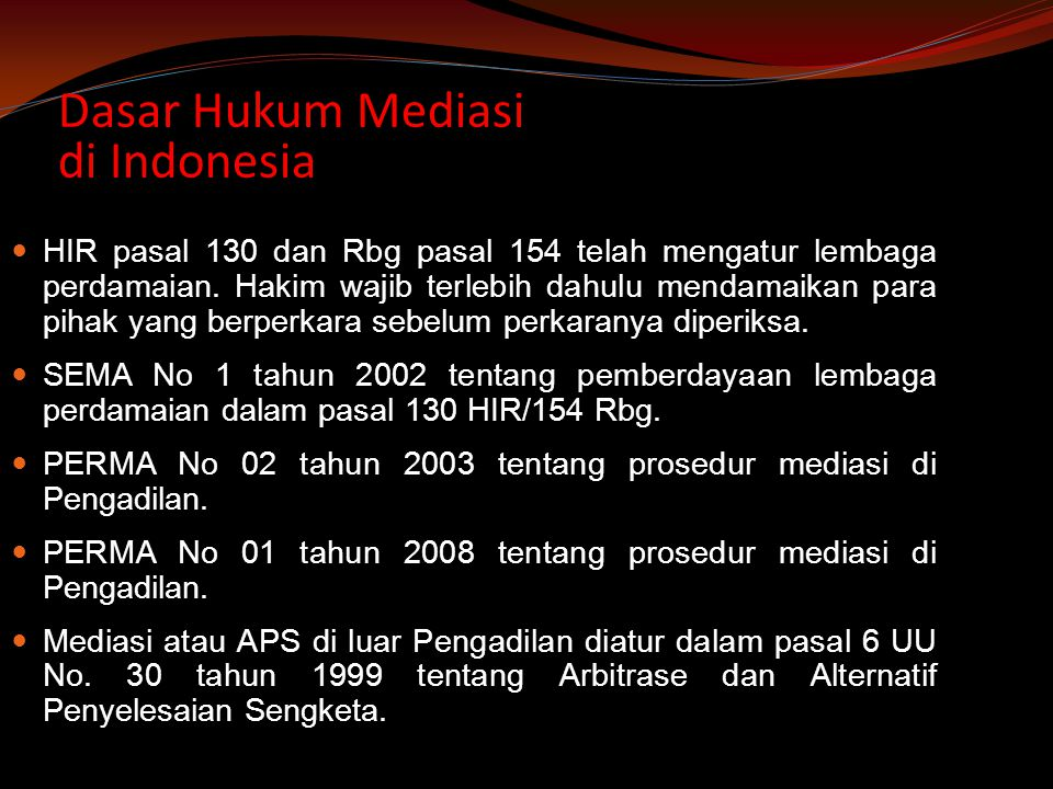 Dasar Hukum Mediasi di Indonesia