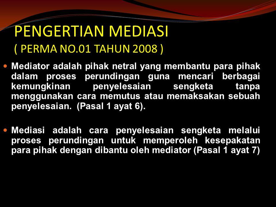 PENGERTIAN MEDIASI ( PERMA NO.01 TAHUN 2008 )
