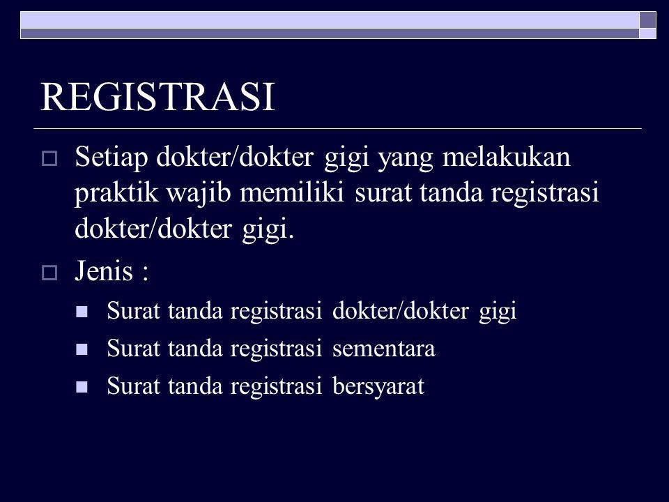 REGISTRASI Setiap dokter/dokter gigi yang melakukan praktik wajib memiliki surat tanda registrasi dokter/dokter gigi.