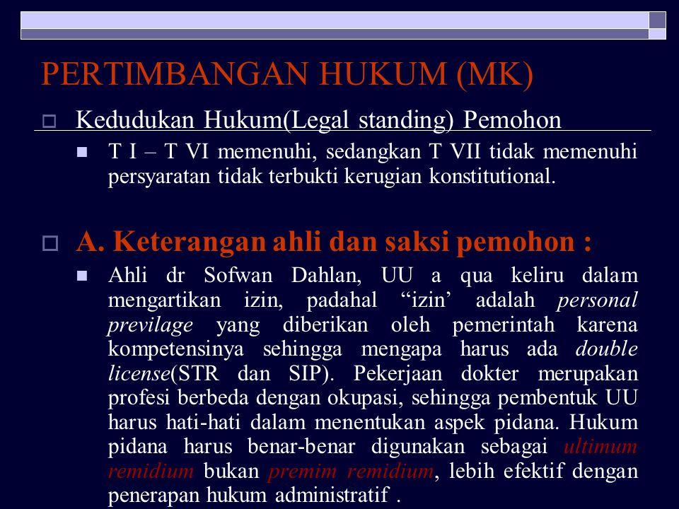 PERTIMBANGAN HUKUM (MK)
