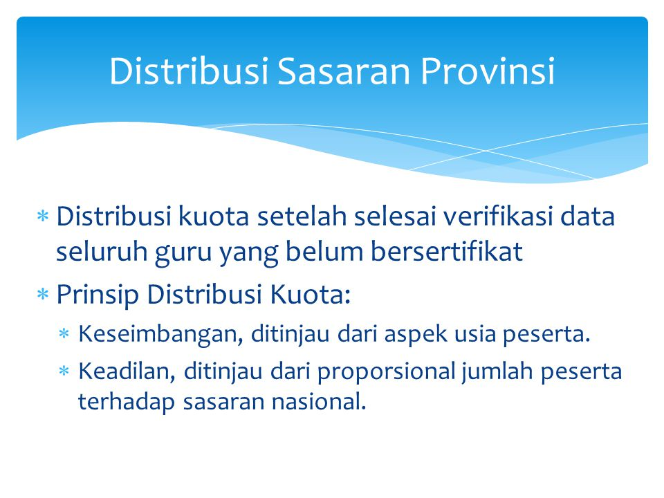 Distribusi Sasaran Provinsi