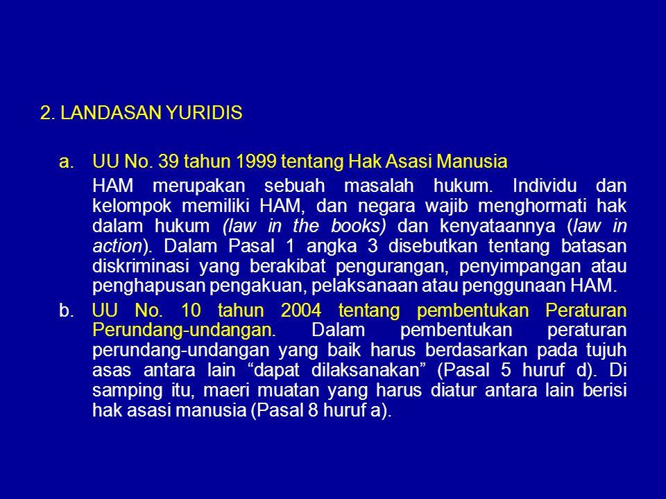 2. LANDASAN YURIDIS UU No. 39 tahun 1999 tentang Hak Asasi Manusia.