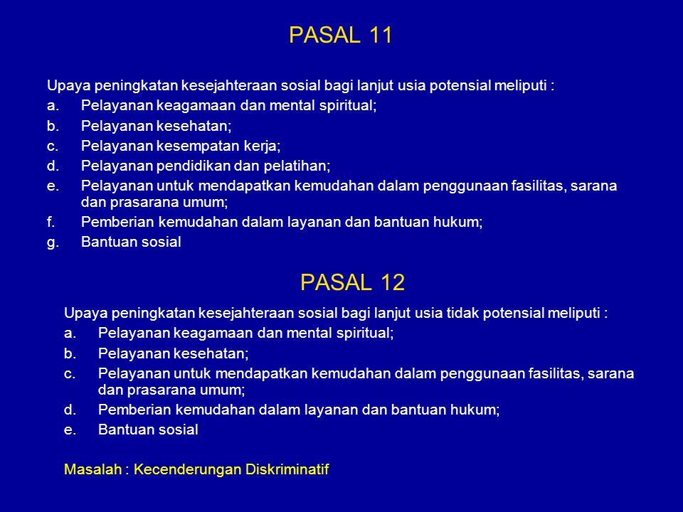 PASAL 11 Upaya peningkatan kesejahteraan sosial bagi lanjut usia potensial meliputi : Pelayanan keagamaan dan mental spiritual;
