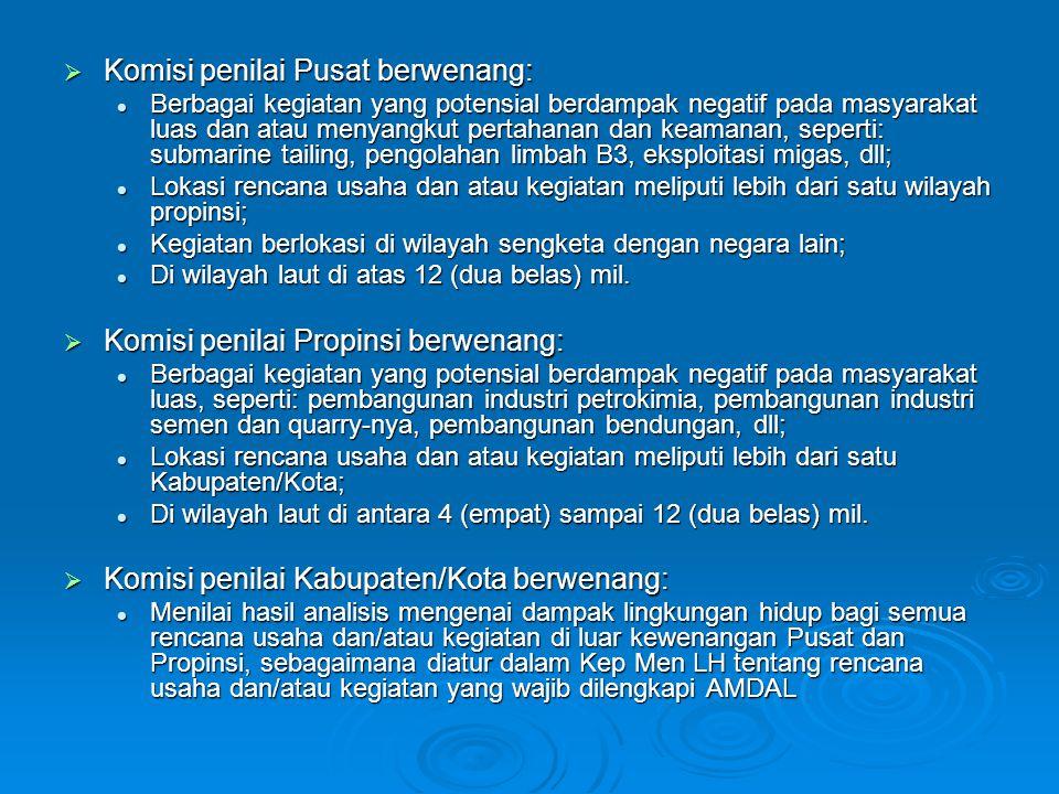 Komisi penilai Pusat berwenang: