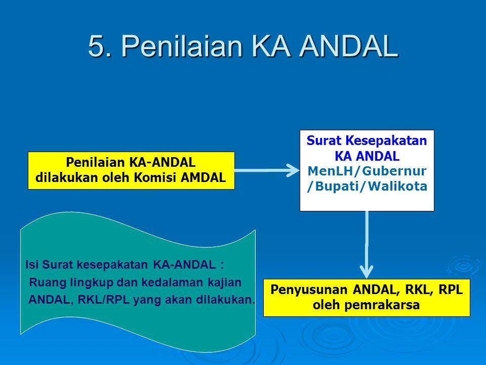 5. Penilaian KA ANDAL Surat Kesepakatan KA ANDAL MenLH/Gubernur/Bupati/Walikota. Penilaian KA-ANDAL dilakukan oleh Komisi AMDAL.