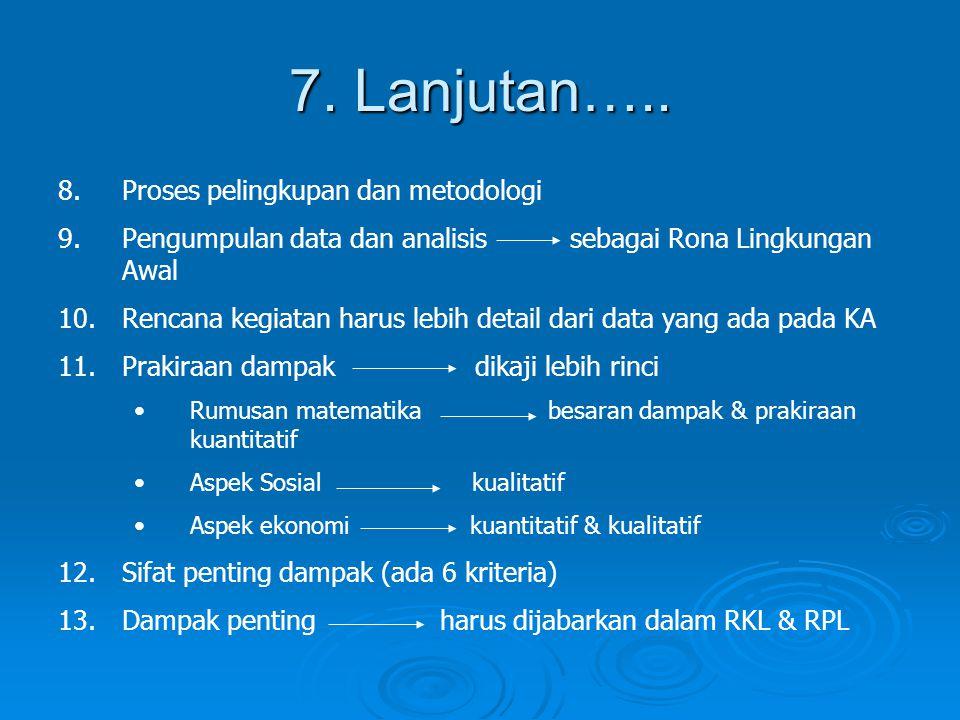 7. Lanjutan….. Proses pelingkupan dan metodologi