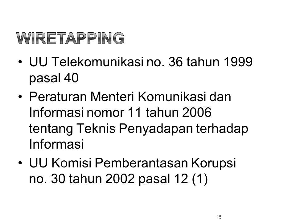 Wiretapping UU Telekomunikasi no. 36 tahun 1999 pasal 40
