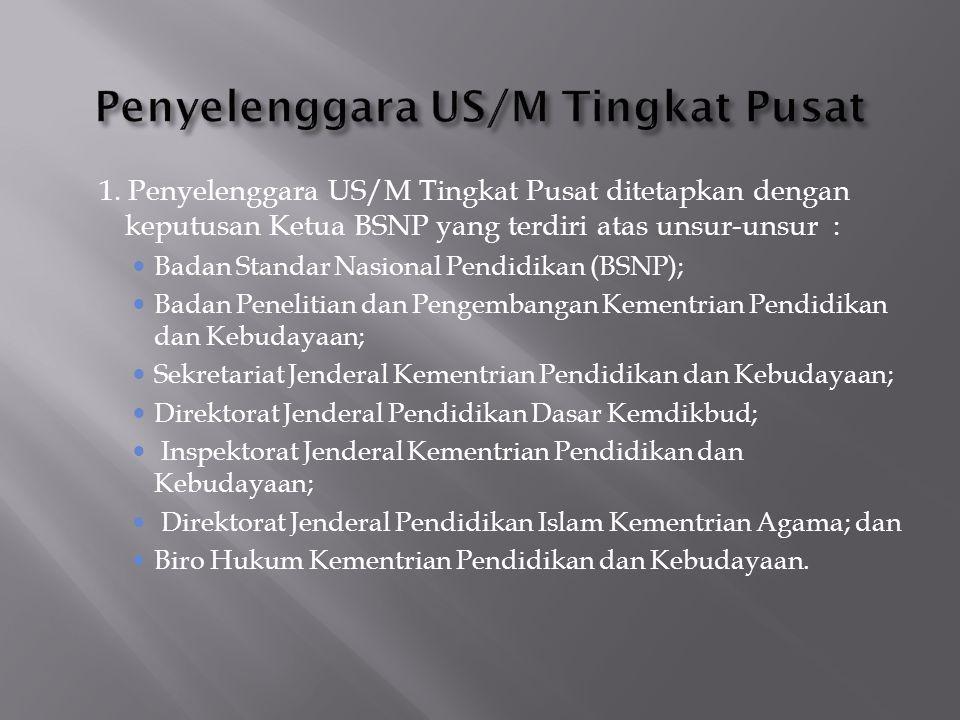 Penyelenggara US/M Tingkat Pusat
