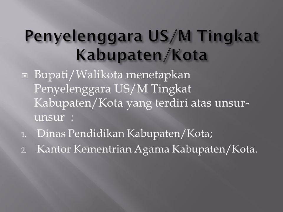 Penyelenggara US/M Tingkat Kabupaten/Kota