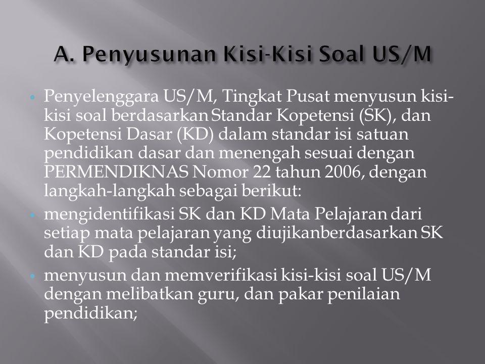 A. Penyusunan Kisi-Kisi Soal US/M