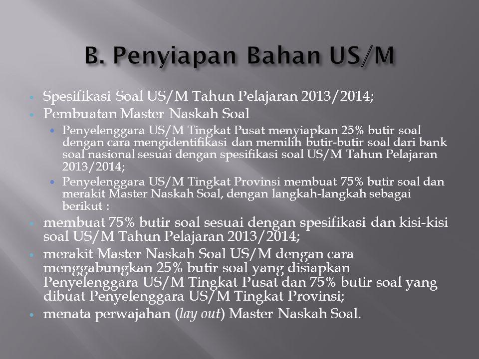 B. Penyiapan Bahan US/M Spesifikasi Soal US/M Tahun Pelajaran 2013/2014; Pembuatan Master Naskah Soal.