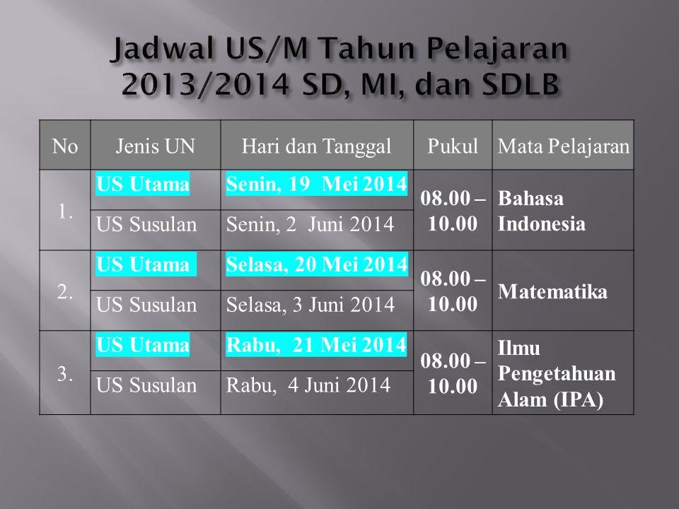 Jadwal US/M Tahun Pelajaran 2013/2014 SD, MI, dan SDLB