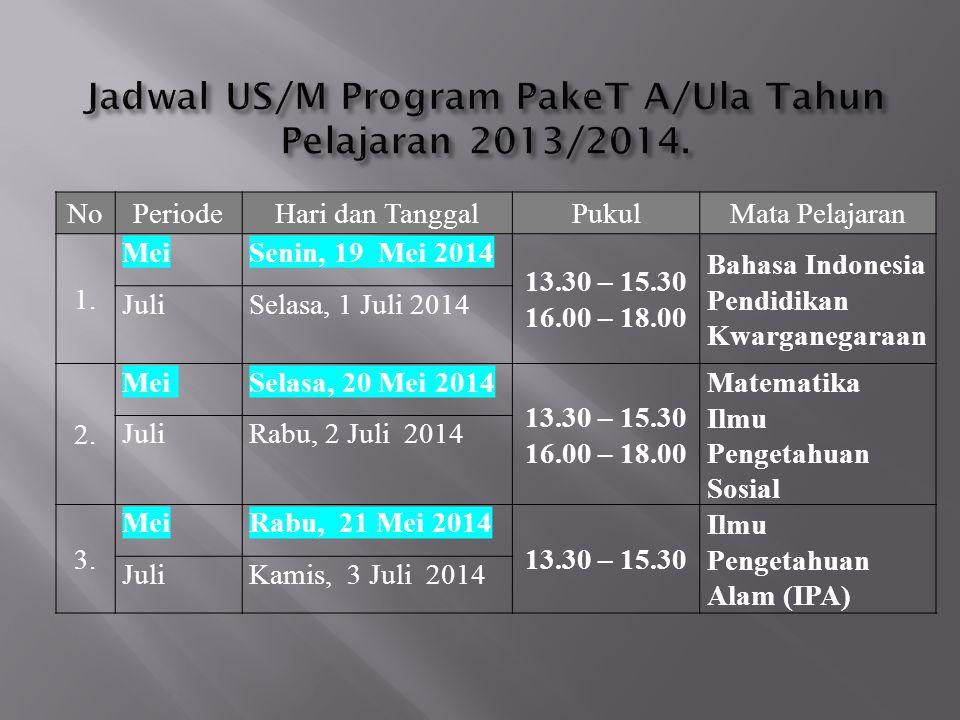 Jadwal US/M Program PakeT A/Ula Tahun Pelajaran 2013/2014.
