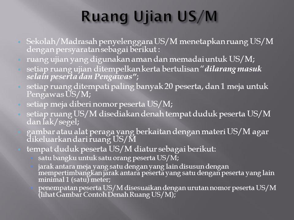 Ruang Ujian US/M Sekolah/Madrasah penyelenggara US/M menetapkan ruang US/M dengan persyaratan sebagai berikut :