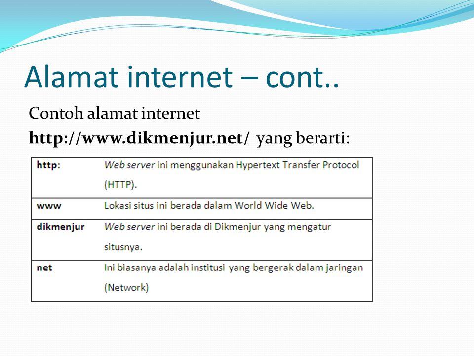 Alamat internet – cont.. Contoh alamat internet http://www.dikmenjur.net/ yang berarti: