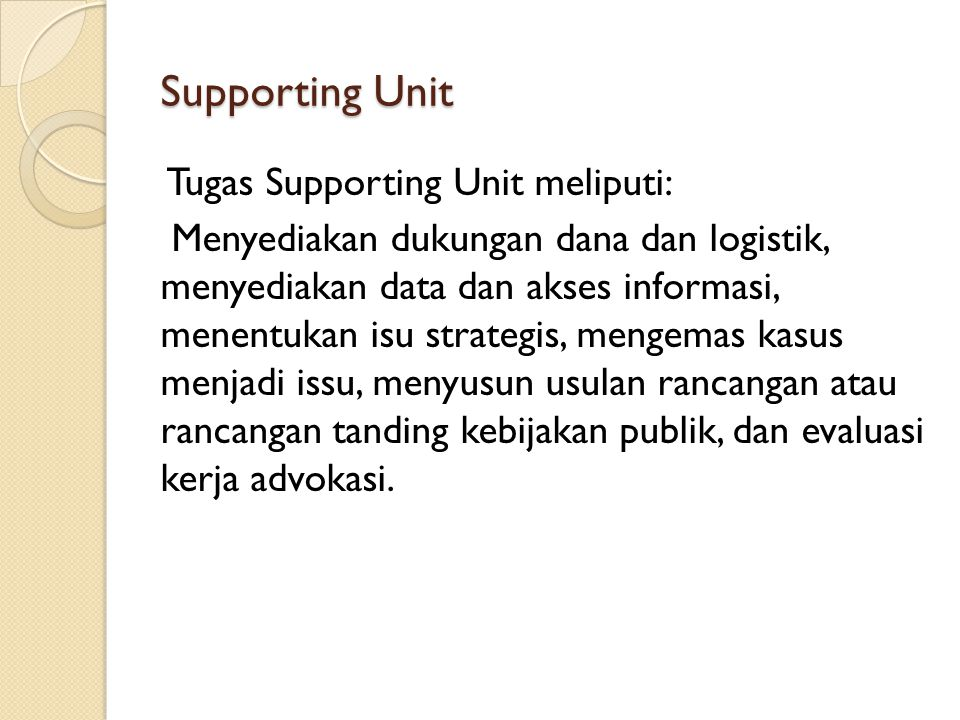 Supporting Unit