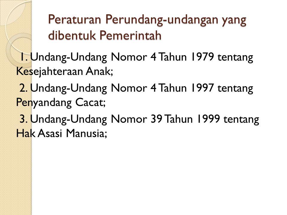 Peraturan Perundang-undangan yang dibentuk Pemerintah