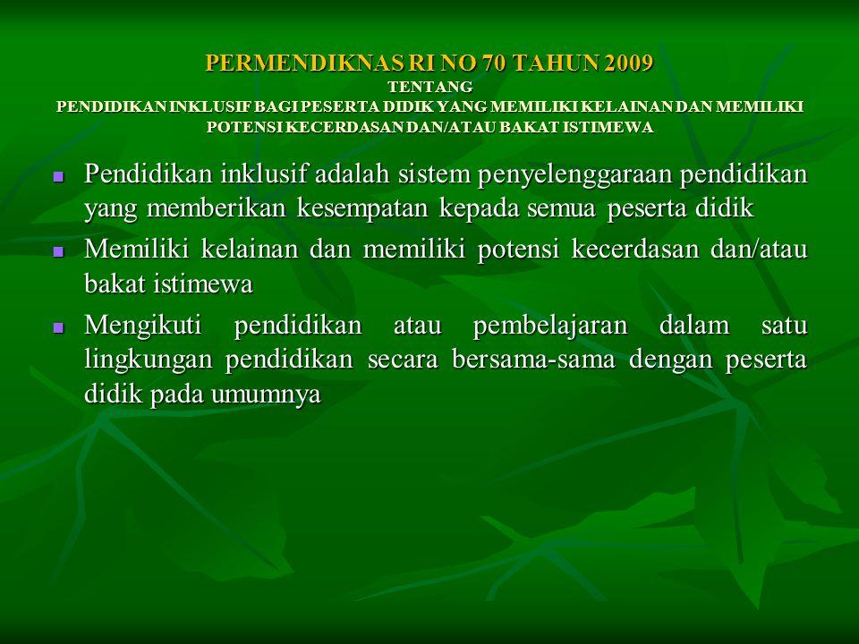 PERMENDIKNAS RI NO 70 TAHUN 2009 TENTANG PENDIDIKAN INKLUSIF BAGI PESERTA DIDIK YANG MEMILIKI KELAINAN DAN MEMILIKI POTENSI KECERDASAN DAN/ATAU BAKAT ISTIMEWA