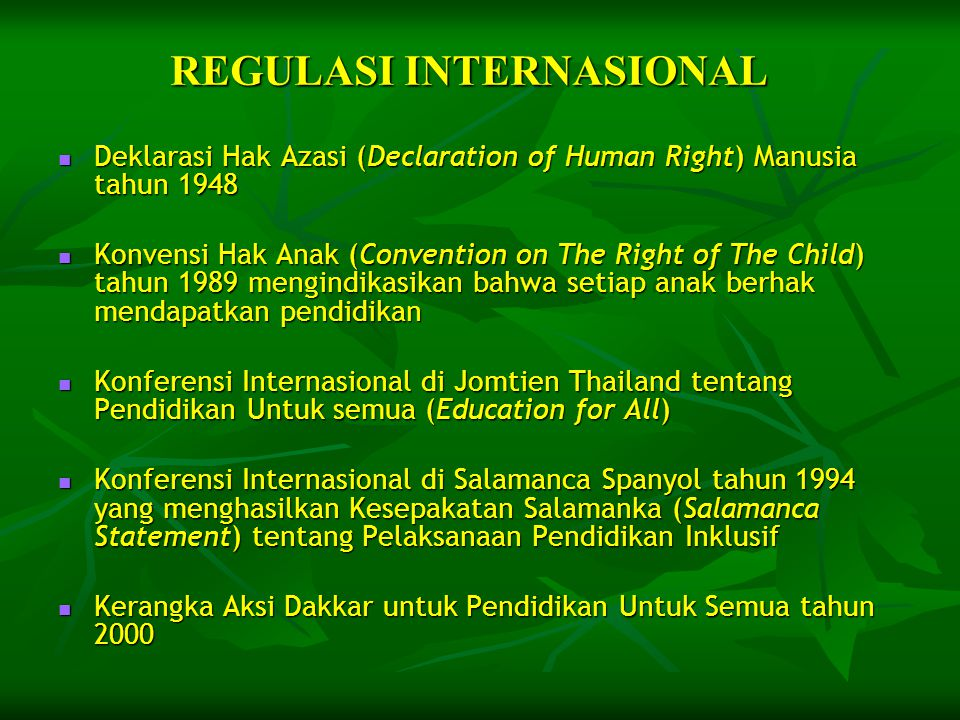 REGULASI INTERNASIONAL