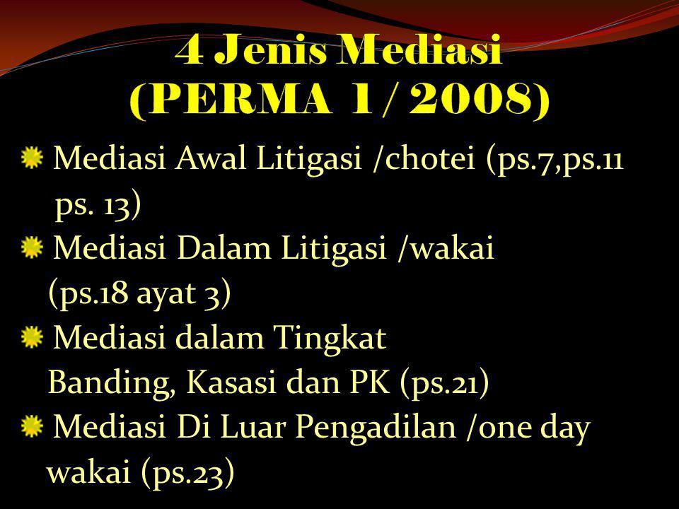 4 Jenis Mediasi (PERMA 1 / 2008)