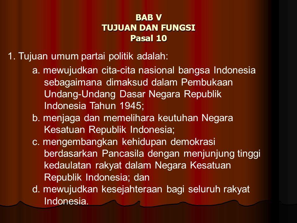 BAB V TUJUAN DAN FUNGSI Pasal 10