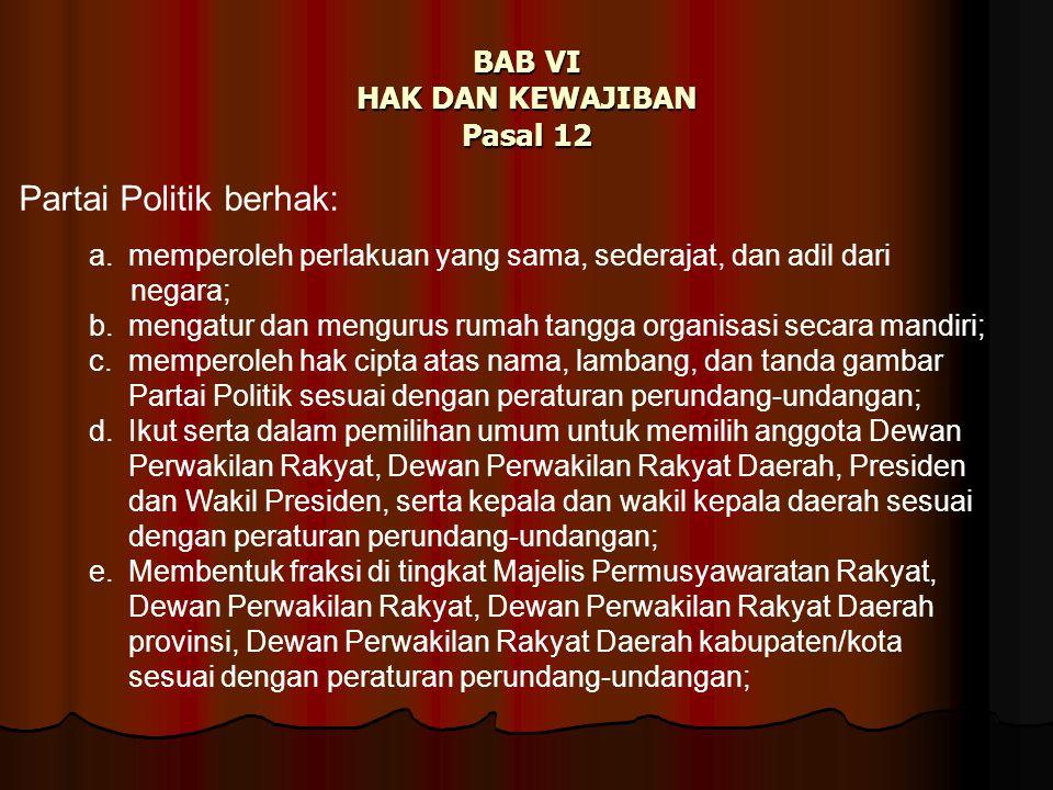 BAB VI HAK DAN KEWAJIBAN Pasal 12